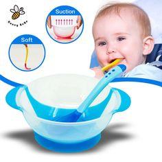 Kinderen servies baby leren gerechten met zuig cup assist voedsel kom temperatuur sensing lepel babyvoeding kom