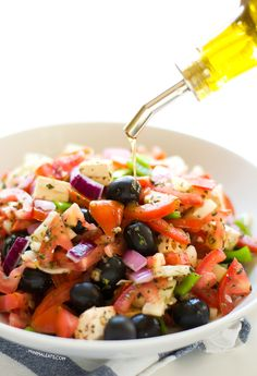 Vegan Greek salad with olive oil | minimaleats.com #minimaleats #vegan