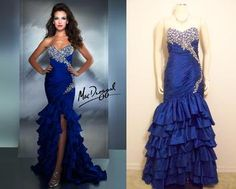 This royal blue stunner is a Designer Replica of Mac Duggal® 4970.  The customer changed the zipper to a lace-up.
