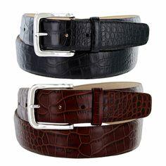 Valley View Black Mens Designer Leather Dress Belt