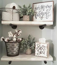 Outstanding Amazing 47 Gorgeous Rustic Bathroom Decor Ideas to Try at your Apartment cooarchitecture.c… The post Amazing 47 Gorgeous Rustic Bathroom Decor Ideas to Try at your Apartment cooarch… . Country Farmhouse Decor, Rustic Decor, Modern Farmhouse, Rustic Style, Farmhouse Ideas, Farmhouse Shelving, Modern Rustic, Country Chic, Vintage Farmhouse