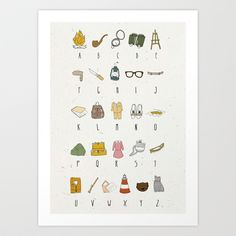 Society6 wall art: Wes Anderson moonrise kingdom alphabet for nursery
