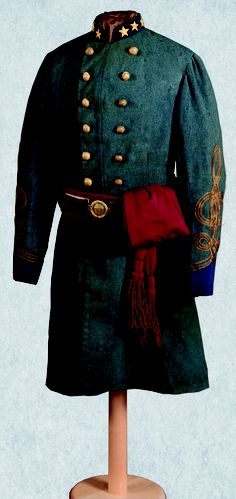 Confederate Army officer's jacket,  ca. 1863,  Gift of Estelle L. Hinde and John K. Hinde, 1993.1.2,   Columbus native Colonel Peyton H. Colquitt was wearing this jacket when he was mortally wounded at the Battle of Chickamauga.