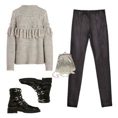 For The Luxe Tomboy - Combat boots and leather leggings add the edge you're craving, while a tassel sweater and beaded mini pouch elevate the overall ensemble into festive territory without being over the top.