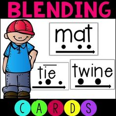 Perfect for teaching blending with students in RTI. This set includes phonics cards with specific dots to help students sound out and chunk words in a systematic way. These cards were created for students in reading intervention. Teaching Phonics, Teaching Kindergarten, Teaching Resources, Teaching Ideas, Cvce Words, Spelling Words, Phonics Cards, Blends And Digraphs, Reading Intervention