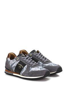 PANTOFOLA D'ORO - Sneakers - Uomo - Sneaker in pelle, camoscio e tessuto stampato con suola in gomma. Tacco 20. - GRIGIO\NERO - € 155.00