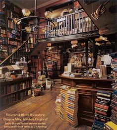 Flourish & Blotts Bookstore, Diagon Alley, London, England from the Harry Potter movie series based on the book series by J.K.Rawlings. via http://harrypotter.wikia.com