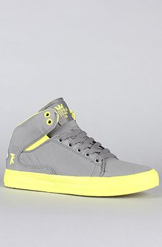 The Society Mid Sneaker in Grey Nylon & Neon Yellow by SUPRA