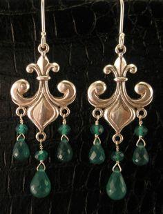 Fleur De Lis and Green Onyx Drop Earrings by www.StarliteJewelryDesigns.com