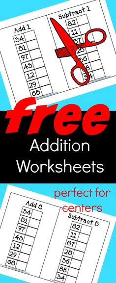 Free addition and subtraction worksheets. These are perfect for math stations and homeschool students.