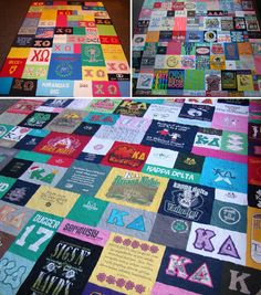 ♥♥ super sweet spotlight ♥♥ i have found a new source for classy sorority tee shirt quilts!! 3 Stitch Creations handcrafts these memory quilts from your greek letter and event tees. the perfect dorm decor! why wait until after you graduate? tee shirt quilts are fabulous anytime... ♥ http://www.etsy.com/shop/3StitchCreations