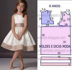 Mod@ en patterns for dress sewing ( Dresses for girls).Dress for a girl of 9 yearsCould do similar with first day dress patternComments on the topic Kids Dress Patterns, Clothing Patterns, Sewing For Kids, Baby Sewing, Sewing Clothes, Diy Clothes, Dress Sewing, Little Girl Dresses, Girls Dresses