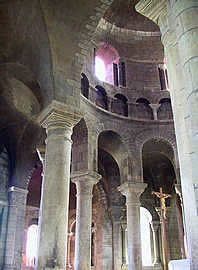 Saint Etienne in Nevers is an 11th century church that was constructed between 1068-1097. The structure, built with local ocher limestone, is one of the finest and best preserved Romanesque churches in France.The clerestory windows were the first to be raised above a tribune level in a wall supporting a vault, to let in an enormous amount of natural light into the nave.
