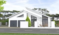 Massivhaus  bungalow Bungalow 162 Bungalow Exterior, Bungalow House Design, Dream House Exterior, Contemporary House Plans, Modern House Plans, Roof Design, Exterior Design, Front View Of House, England Houses