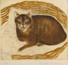 Cat in a Basket by Elizabeth Blackadder.