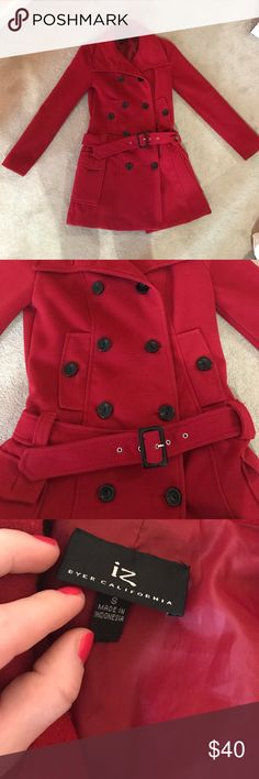 Red winter pea coat Worn but kept in great condition. Thick for the winter time. Hits about mid thigh on someone who is 5'4. I'm about 5'1 and it hits to right above my knees. Jackets & Coats Pea Coats