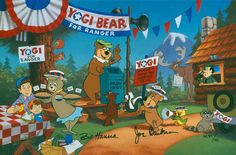 """""""Yogi for Ranger"""" Yogi is campaigning to be the new Ranger for Jellystone Park with a little help from his friends, Boo Boo, Cindy Bear and Yakky Doodle. The only one who isn't helping to get out the vote is Ranger Smith who doesn't look too happy with Yogi's latest antics. Yogi Bear was the first break-out star for the Hanna-Barbera becoming one of the most popular characters for the studio.The edition is signed by Joe Barbera and William Hanna."""