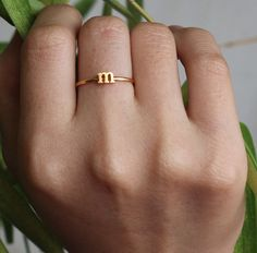 OFF** Band Ring - Initial Name Ring - Stackable Name Ring - Sterling Silver / Gold Plated Cute Jewelry, Gold Jewelry, Jewelry Rings, Jewelry Accessories, Jewelry Design, Jewellery, Gold Ring Designs, Gold Earrings Designs, Gold Finger Rings
