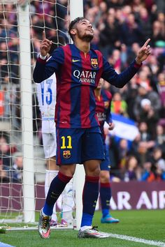 Neymar of FC Barcelona celebrates after scoring the opening goal during the La Liga match between FC Barcelona and Levante UD at Camp Nou on February 15, 2015 in Barcelona, Catalonia.