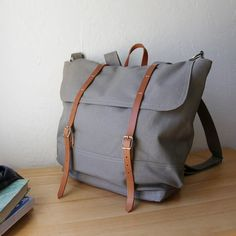 The Rucksack // Backpack in Gray Canvas and Leather
