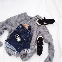 knit sweater + #levis