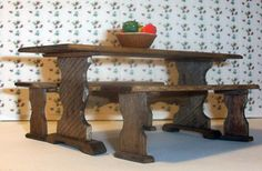 How to Build a Dollhouse Trestle Table and Benches