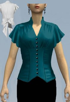 Neck line ~ Blouse - Amber Middaugh 2015 Blouse Patterns, Blouse Designs, Sewing Patterns, Myanmar Dress Design, Work Tops, Blouse Styles, African Fashion, Fashion Women, Designer Dresses