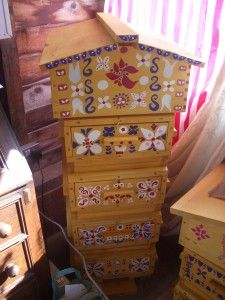 Warre hive, Natural Beekeeping Trust. If I ever start to paint designs on my hives :)