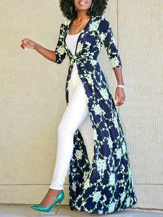 Women Fashion Printed Straight Long Cardigan Coat