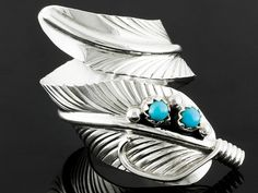 Southwest Style By Jtv(Tm) Round Cabochon Sleeping Beauty Turquoise Silver Feather Bypass Ring