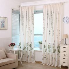 2017 New Arrival Lotus Leaf Calico Finished Product Cloth Window Screens Kitchen  Curtains for living Room Tulle Cortinas #Affiliate