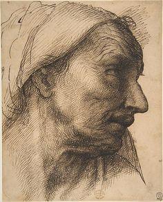 Sebastiano del Piombo (Sebastiano Luciani), c.1485-1547, Italian, Head of an Old Woman, 1485-1547.  Pen and ink on buff paper; 20.3 x 16.5 cm.  Metropolitan Museum of Art, New York.  High Renaissance, Mannerism.