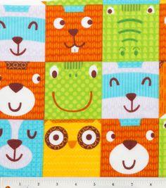 Faces flannel fabric - owl, fox, racoon, beaver, frog, alligator, bear - blocks of forest animal faces  YARD. $6.75, via Etsy.