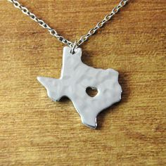Texas necklace hammered personalized state by LoveHandmadeJewelry, $13.99