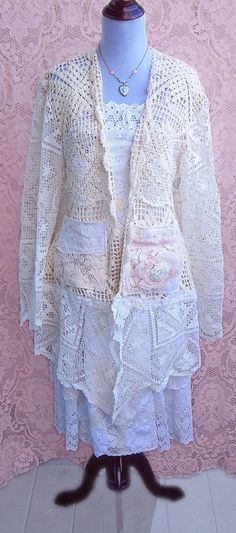 Alabaster Ivory Vintage Crochet & Lace Coat Sz by roselanijasmin, $120.00