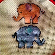 My elephant cross stitch :) Baby Cross Stitch Patterns, Cat Cross Stitches, Cross Stitch Designs, Cross Stitching, Cross Stitch Embroidery, Elephant Cross Stitch, Cross Stitch Animals, Cross Stitch Cards, Plastic Canvas Patterns