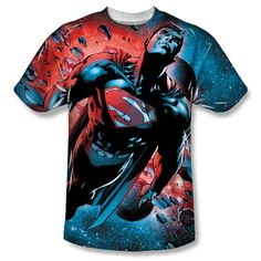 DC Comics Superman Red Sun Adult Sublimated White T-Shirt $26.95