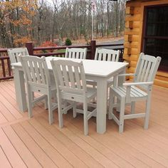 Lehigh 7 Pc Patio Dining Set Made in the USA Available in 8 Color Options