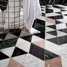 Ivy Hill Tile Prisma x Marble Mosaic Tile Marble Mosaic, Marble Floor, Mosaic Tiles, Wall Tiles, Modern Mosaic Tile, Tiling, Green Marble, Pink Marble, Black Marble Tile
