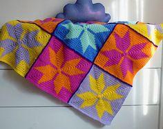 Granny Square Crochet pattern Blanket Gerbera 3D Flower by bySol