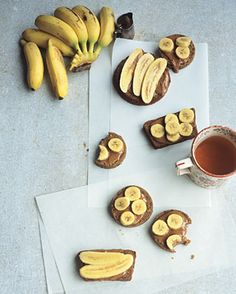 Almond Butter and Finger Bananas on Fruit Bread Recipe  at Epicurious.com