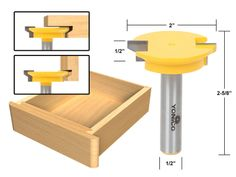 Joinery :: 3Pc. Jointing Router Bit Set -Lock Miter, Glue Joint, Drawer Front -Yonico 15336