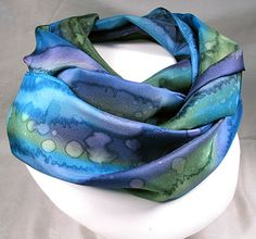 Silk Scarf Hand Painted Silk Art Quintessence by by Quintess, $39.99