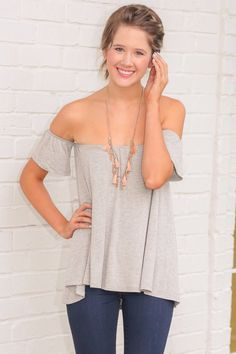 Grey off the shoulder top Trendy Clothes For Women 423780212