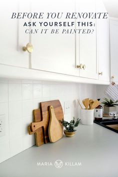Adding a coat of paint is many times the simplest and least expensive way to make an update. Backsplash tile, cabinets, even countertops can be painted to get you through until the renovation really needs to be done. Painting Over Tiles, Painting Tile Backsplash, Ceramic Tile Backsplash, Painting Ceramic Tiles, Kitchen Backsplash, Backsplash Ideas, Cement Tiles, Kitchen Cabinets, Mosaic Tiles