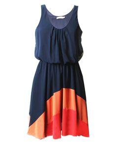 LOVE Navy Chiffon Rainbow Hem Dress