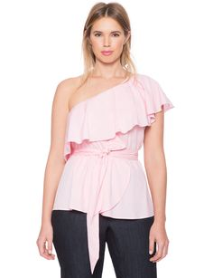 One Shoulder Ruffle Peplum Top | Women's Plus Size Tops | ELOQUII