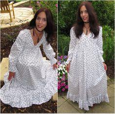 Vintage Laura Ashley 1970s White Maxi Dress by HeavyLoadVintage