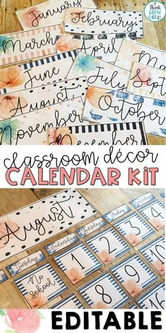 Looking for a calming watercolor themed calendar bulletin board set? This vintage shabby chic style calendar display and board headers are an easy way to stay organized in your upper elementary, middle school or high school classroom. Editable pieces allow you to customize to meet the needs of your classroom. Click to see the printables included in this bulletin board display set. Elementary Classroom Themes, High School Classroom, New Classroom, Classroom Design, Classroom Decor, Upper Elementary, Elementary Schools, Classroom Labels, School Teacher