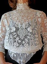 Exquisite Victorian/Early Edwardian Hand Made Irish Crochet Lace Blouse